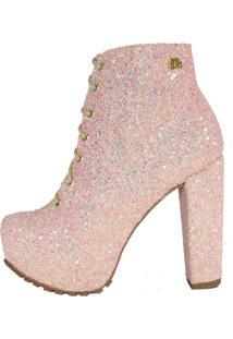 Ankle Boot Salto Grosso Week Shoes Glitter Furtacor Cadarço Rosé - Kanui