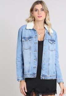 Jaqueta Jeans Feminina Com Pelo Removível Azul Médio
