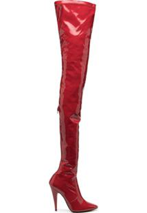 Saint Laurent Bota Aylah Com Salto 110Mm - Vermelho