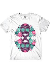 Camiseta Long Beach Caveira Reflexo Sublimada Masculina - Masculino-Branco