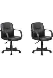 Conjunto Com 2 Cadeiras De Escritório Secretária Giratórias Clean Preto