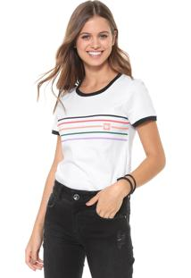 Camiseta Hang Loose Rainbow Branca/Preta
