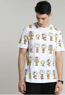 Camiseta Masculina Snoopy Estampada Manga Curta Gola Careca Off White