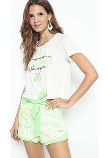Blusa Cropped Pagodinho - Off White & Verde Limão- Llança Perfume