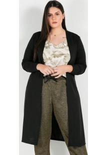 Cardigan Plus Size Longo Preto Fenda Lateral