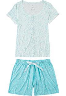 Pijama Curto Aberto Floral Malwee (1000073609) Plus Size