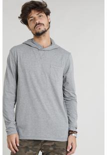 Camiseta Masculina Flamê Com Capuz E Bolso Manga Longa Cinza Mescla Escuro