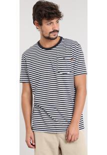 Camiseta Masculina Listrada Com Bolso Manga Curta Gola Careca Preta