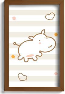 Quadro Infantil Quartinhos Hipopótamo Marrom 22X32Cm Moldura Marrom - Tricae