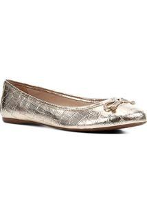 Sapatilha Shoestock Metalizada Laço Feminina - Feminino-Dourado