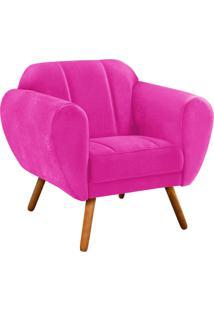 Poltrona D'Rossi Decorativa Melissa Suede Pink Com Pés Palito - D'Rossi