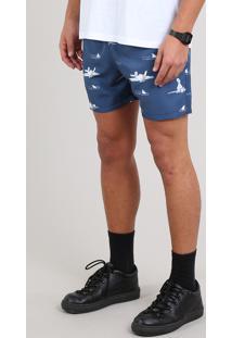 Short Masculino Os Simpsons Estampado Com Bolso Azul