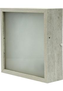 Luminária Skylux De Teto Plafon Quadrado Mdf Amadeirado Rústico 25X25 Cinza Concreto