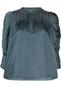 Ulla Johnson Ruched Puff Sleeve Blouse - Azul