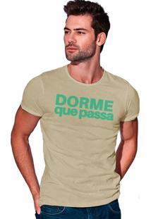 Camiseta Estonada Corte À Fio Joss Dorme Que Passa - Areia