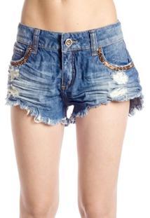 f87bcff574af7c Shorts Jeans Destroyed Detalhes Vidrilhos Colcci - Feminino-Azul