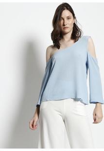 Blusa Lisa Ombro Vazado - Azul Claromoiselle
