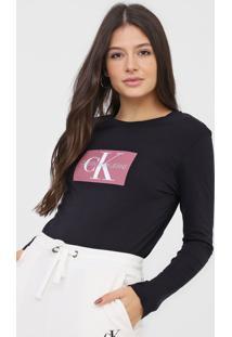 Blusa Calvin Klein Jeans Logo Preta - Preto - Feminino - Algodã£O - Dafiti