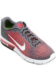 Tênis Nike Air Max Sequent 2 Feminino - Feminino-Cinza+Vermelho
