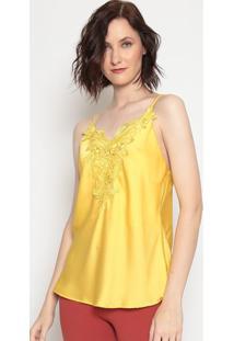 Blusa Acetinada Com Renda - Amarela - Moiselemoisele