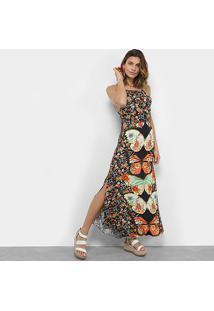 Vestido Longo Farm Com Recortes Estampado Feminino - Feminino-Estampado
