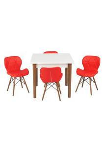 Conjunto Mesa De Jantar Luiza 80Cm Branca Com 4 Cadeiras Slim - Vermelho