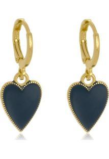 Brinco Coração Azul Marinho Resinado Di Capri Semi Jóias X Ouro Dourado