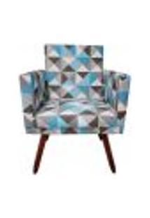 Poltrona Decorativa Nina C/ Rodapé Triângulo Azul