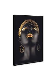 Quadro 75X50Cm Mulher Negra Maquiagem Dourada Beltza Moldura Preta Com Vidro