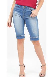 Bermuda Jeans Com Bolsos - Azulscalon