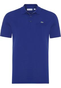 Polo Masculina Regular Fit Com Bolso - Azul