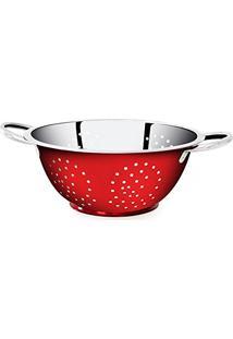 Escorredor Vermelho De Massa Em Aã§O Inox Color - 24Cm Gourmet Mix