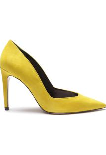 Scarpin Special Italian Veludo Yellow   Schutz
