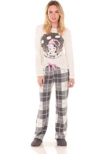 Pijama Longo Inspirate Family Chess - Bege