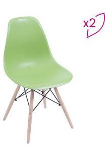 Or Design Jogo De Cadeiras Eames Dkr Verde & Madeira Clara 2Pã§S