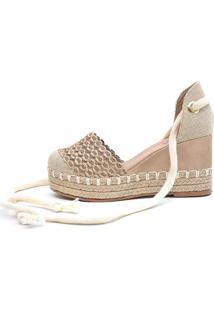 Sandália Plataforma Scarpan Calçados Finos - Trança Bege