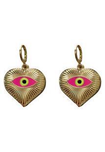 Brinco Narcizza Coração Olho Grego Pink - B551(Atl)P
