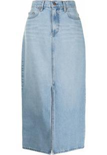 Nobody Denim Saia Jeans Avery Com Fenda Frontal - Azul