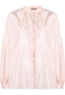 Bottega Veneta Band Collar Silk Blouse - Rosa