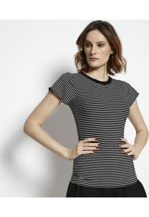 Camiseta Canelada Listrada- Preta & Branca- Tritontriton