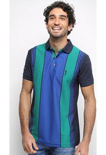Camisa Polo Aleatory Fio Tinto Listras Verticais Masculina - Masculino-Verde+Preto