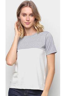 Camiseta Volare Básica Bicolor Feminina - Feminino-Cinza