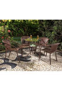 Conjunto Mesa Com 4 Cadeiras Mariana - Alegro - Castanho