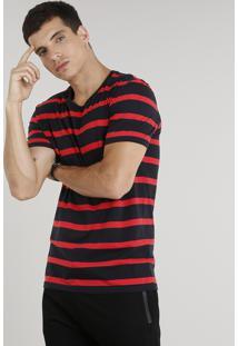 Camiseta Masculina Listrada Manga Curta Gola Careca Preta