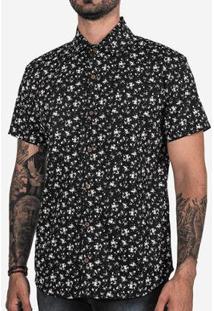 Camisa Hermoso Compadre Micro Estampada Masculina - Masculino-Preto