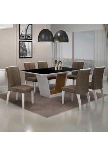 Conjunto De Mesa Com 6 Cadeiras Alemanha Iii Branco E Marrom