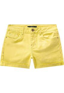 Shorts Sarja Chapa Barriga Com Elastano Amarelo