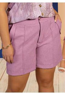 Shorts Rosa Gris Plus Size