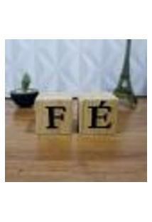 Cubo Decorativo Com Letras Em Acrílico Fé Único