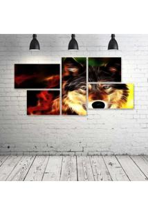 Quadro Decorativo - Wolf-Neon-Face - Composto De 5 Quadros